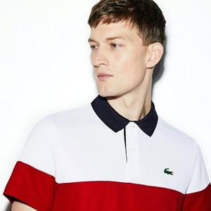 Mens SPORT Breathable Pique Tennis Polo [라코스테 반팔,폴로티] White/Red/Navy Blue-ZK5 (Selected colour) (DH3399-51)